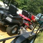 Heavy-duty mowers on trailer in 2010